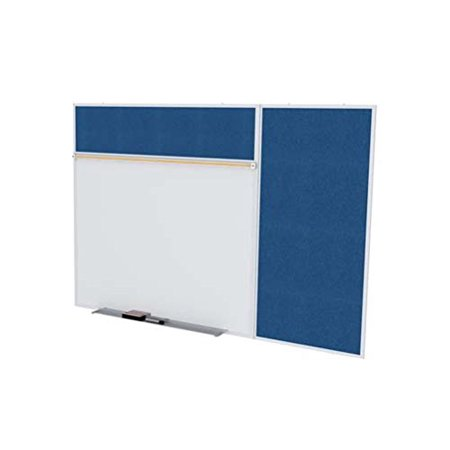 Ghent SPC412B-V-195 4 ft. x 12 ft. Style B Combination Unit - Porcelain Magnetic Whiteboard and Vinyl Fabric Tackboard - Navy