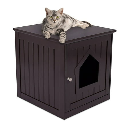 Internet's Best Decorative Cat House & Side Table | Cat Home Nightstand | Indoor Pet Crate | Litter Box