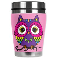 Mugzie brand 10-Ounce  Stainless Steel Travel Mug with Insulated Wetsuit Cover - Pink Owl