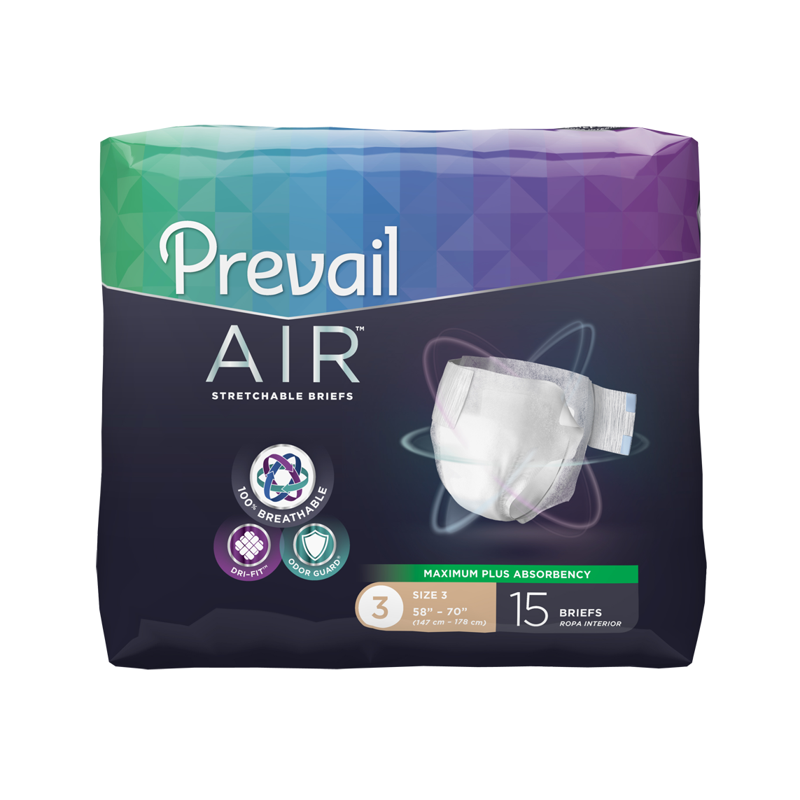"Prevail Air Stretchable Briefs Size 3 Extra Large 58"" - 70"" - Case of 60"