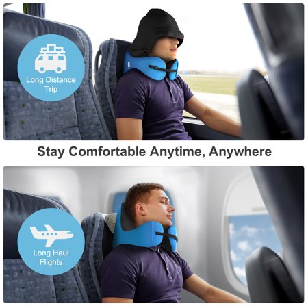 6-in-1 Long Haul Astronaut Memory Foam Travel Pillow with Detachable Hood Adjustable Neck Size for All Ages Side Elastic Pocket Neck Travel Cushion for Plane Train Car Bus Office