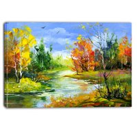 Design Art Fusion of Autumn Shades Landscape Painting Print on Wrapped Canvas
