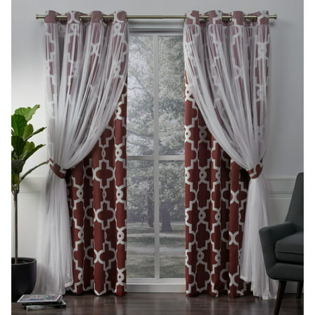 Exclusive Home Curtains 2 Pack Alegra Layered Geometric Blackout and Sheer Grommet Top Curtain