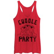 Finding Dory Women's  Cuddle Pile - Heather - Racerback Womens Tank Red