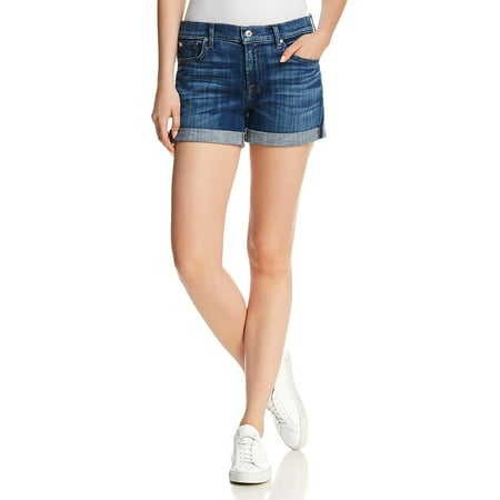 7 For All Mankind Womens Midroll Cuffed Mid-Rise Denim Shorts 7 For All Mankind Ginger