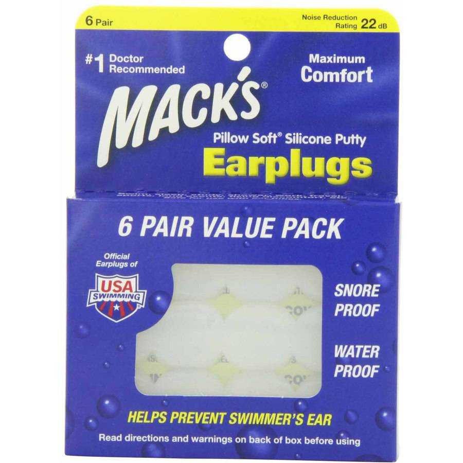 Macks Pillow Soft Silicone Earplugs, Value Pack, 6-Pair