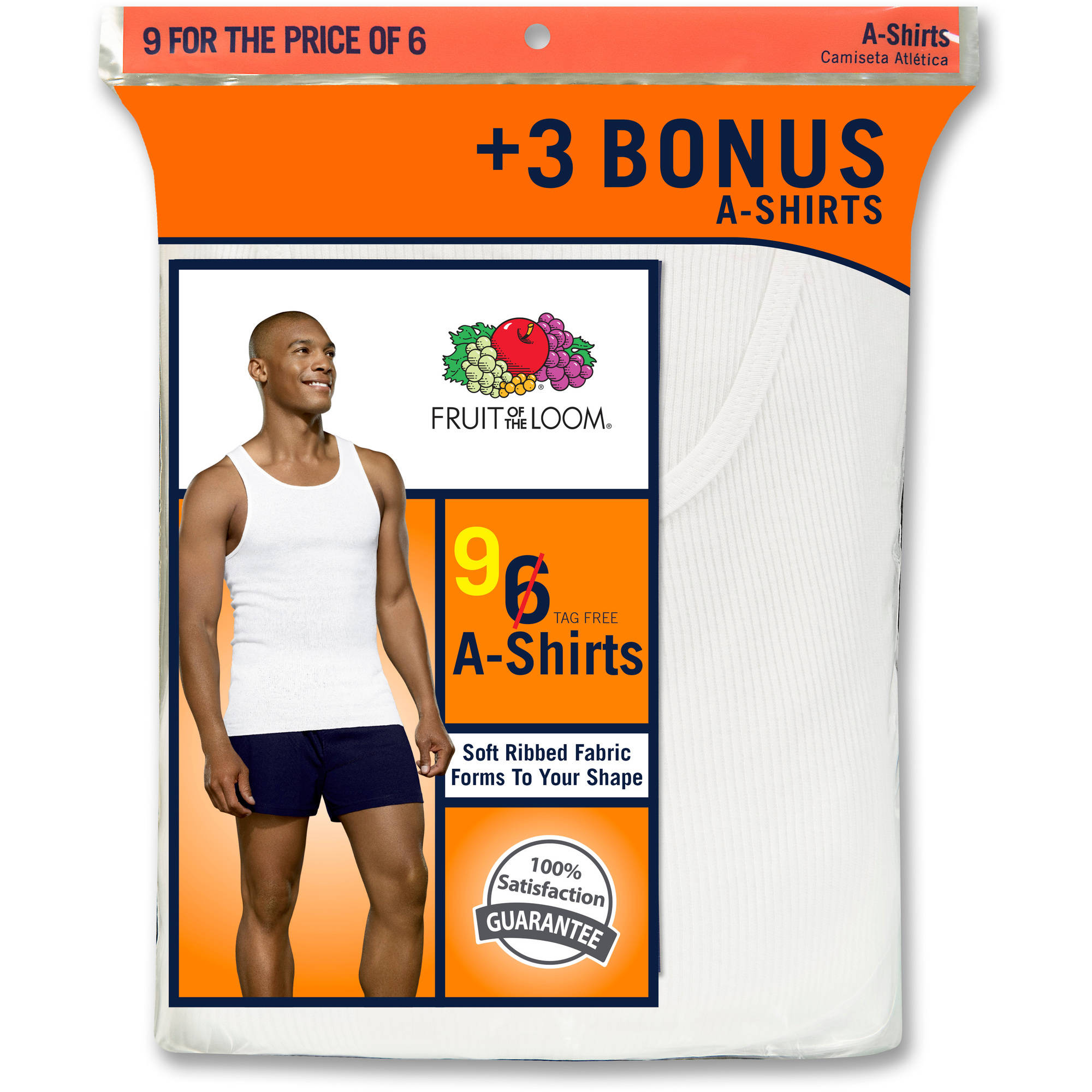 Bonus Pack! Fruit of the Loom Men's 6+3 Free White A-Shirts