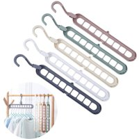 5pcs/set Magic Clothes Hanger Organizer Closet Space Saving Plastic Multi Functional Wardrobe Rotate Anti-skid Storage