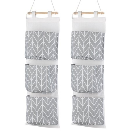 3-pocket Wall Mounted Storage Bag, 2 PACK Over the Door Organizer Closet Pockets, Cotton Linen Closet Hanging Storage Pouch Accessories Holder -