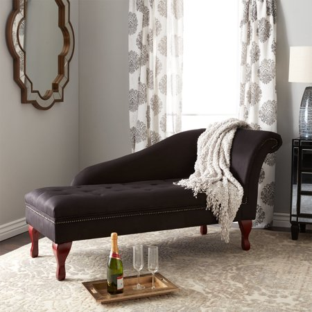 Simple Living  Black Storage Chaise - Dynamic Designs Brown Cherry