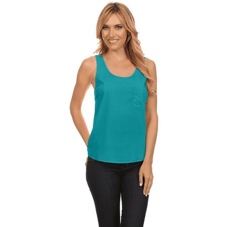 Womens Sheer Loose Fit Tee Shirt Vest Sleeveless Elegant Tank Top Blouse, Pocket