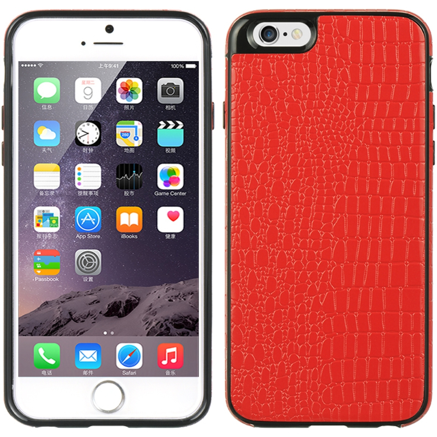Insten Crystal Skin Embed Premium Crocodile Leather Back Case For Apple iPhone 6 / 6s