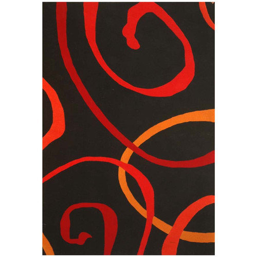 Acura Rugs Contempo Black/Red Area Rug