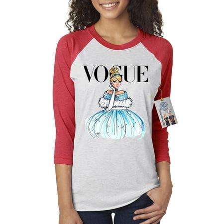 Vogue Princess Shirt Cinderella Womens 3/4 Raglan Sleeve Shirt Top - Cinderella Clothes