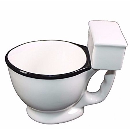 White Ceramic Porcelain Toilet Bowl Coffee Mug Funny Joke Gag Prank Gift -