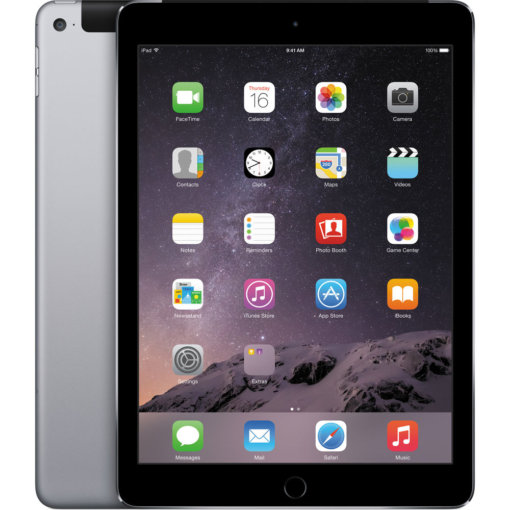 Apple iPad Air 2 - 128GB - Wi-Fi -  6th Gen - 9.7in - Wi-Fi + Cellular, Space Gray - MH312LL/A (Manufacturer Refurbished)