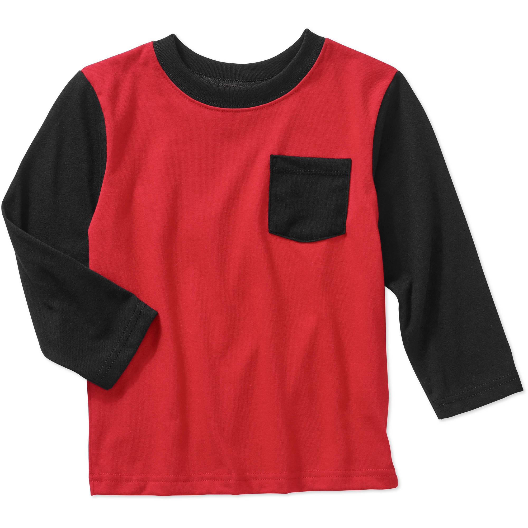 Garanimals Baby Toddler Boys' Long Sleeve Colorblock Pocket Tee Shirt