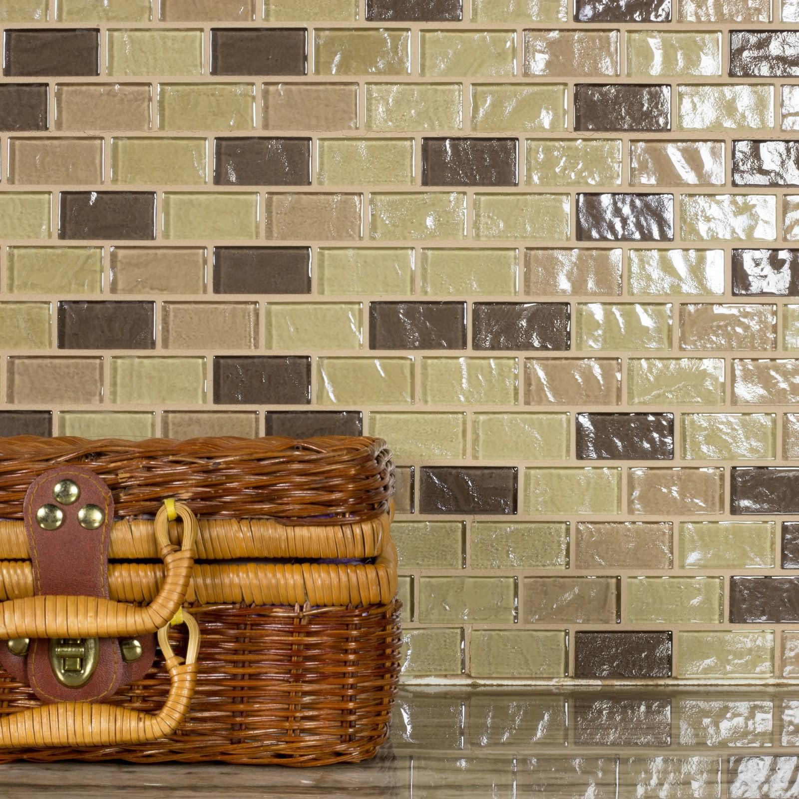"Abolos- Geo 1"" x 2"" Glass Mosaic Backsplash Tile in Light Brown (4.9sqft / 5pc Box)"