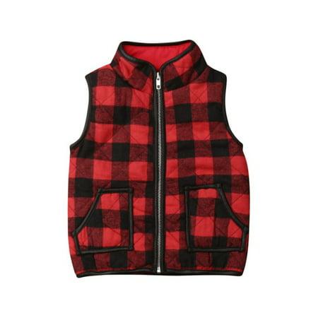 Children Winter Warmer Girls Cotton Sleeveless Vest Soft Cute Cartoon Plaid Print Pocket Leisure Warm Clothes For Girl Plaid Print Vest
