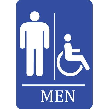 Mens Bathroom Handicap Accessible Blue Sign