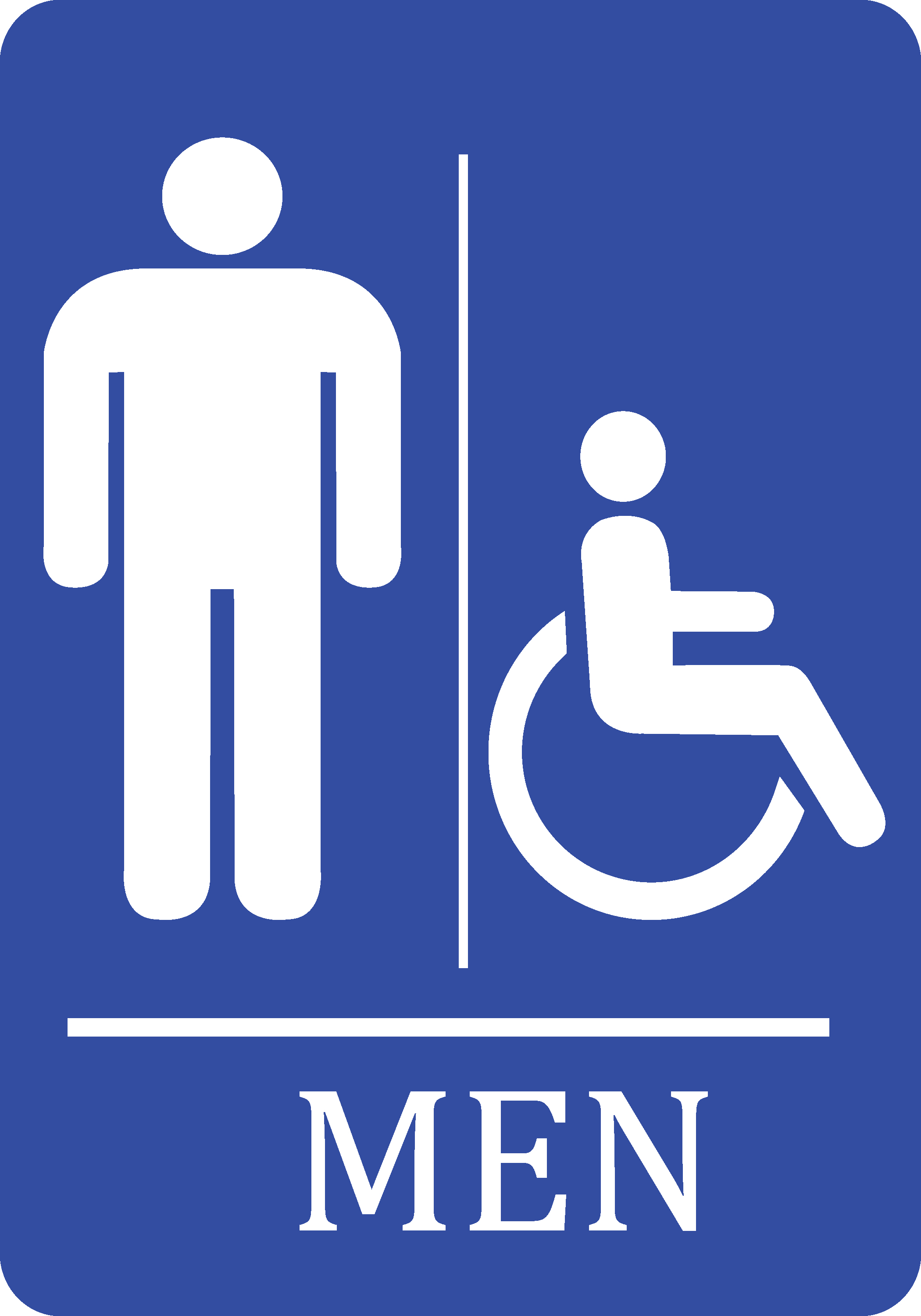 Mens Bathroom Handicap Accessible Blue Sign   Men Restroom Sign XL Signs  Plastic, 12x18