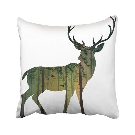 ARTJIA Silhouette Of Deer Inside The Pine Forest With Flying Birds And Rays Setting Sun Pillowcase Pillow Cushion Cover 20x20 inches
