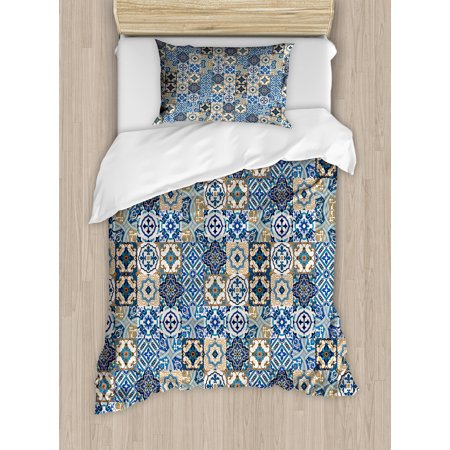Moroccan Duvet Cover Set, Tile Pattern with Portuguese Traditional Azulejo Motifs Oriental Curls, Decorative Bedding Set with Pillow Shams, Blue White Pale Brown, by - Oriental Bedding