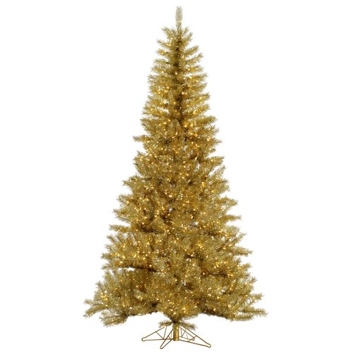 The Holiday Aisle 9' Gold/Silver Tinsel Artificial Christmas Tree with 1000 LED Clear Dura-Lit Lights