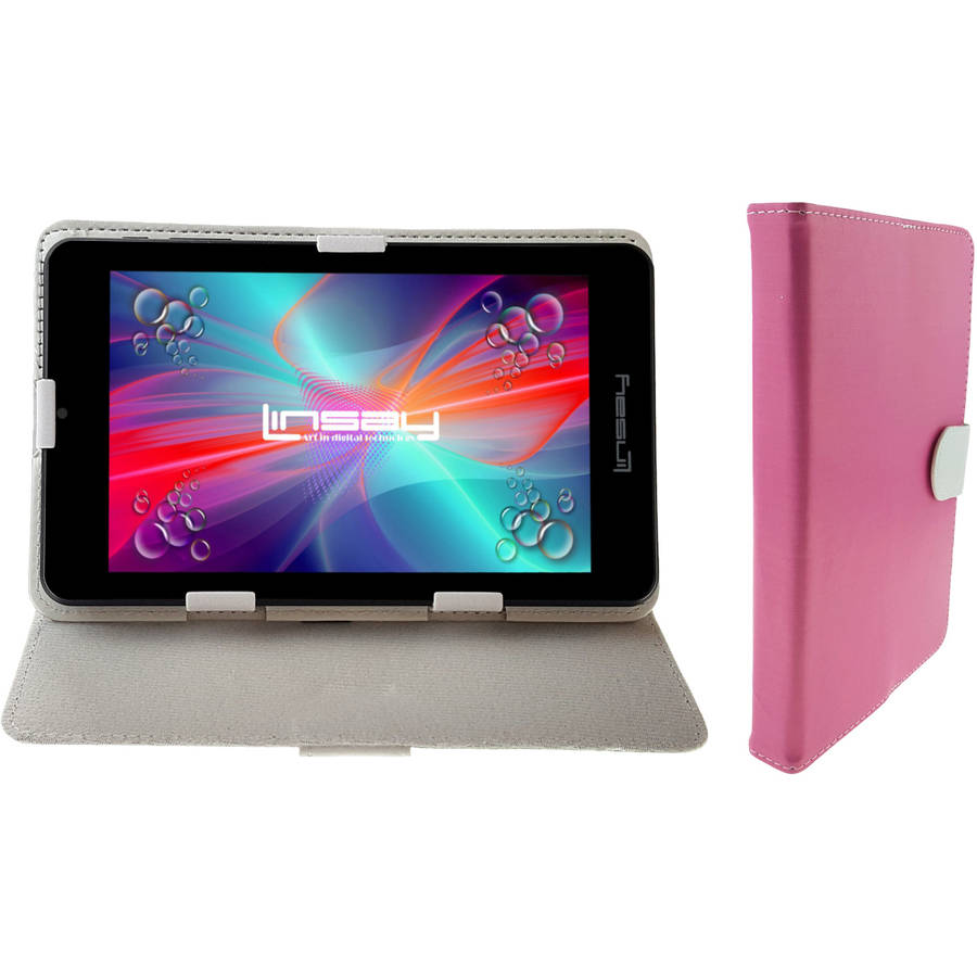 "LINSAY 7"" Quad Core Android 6.0 Tablet Bundle with Pink White Leather Case Dual Cameras"