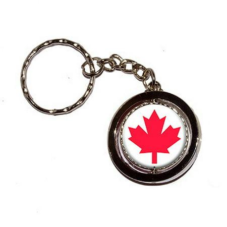 Flag Keychain (Canada Maple Leaf Flag Spinning Circle Keychain)
