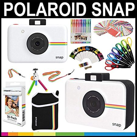 Epoxy Stickers Photo Gems - polaroid snap instant print camera gift bundle + zink paper (30 sheets) + snap themed scrapbook +  pouch + 6 edged scissors + 100 sticker border frames + color gel pens +  frames + accessories