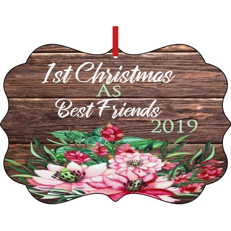 1st Christmas as Best Friends 2019  Double Sided Elegant Aluminum Glossy Christmas Ornament Tree Decoration - Unique Modern Novelty Tree Décor