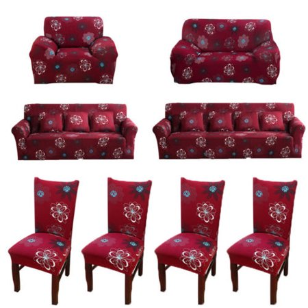 Floral Furniture Slipcover - Stretch Sofa Covers 1/2/3/4 Seater Sofa Cover, Loveseat Cover, Chair Cover Furniture Protector Elastic Fabric Soft Couch Slipcovers (Red Floral)