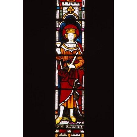 Memorial window in church to King Edward, Corfe Castle, Dorset, 20th century Print Wall Art By CM
