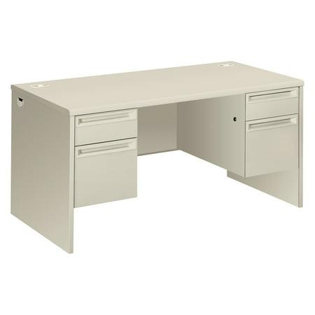 HON 38000 Series Double Pedestal Desk, 60w x 30d x 29-1/2h, Light gray