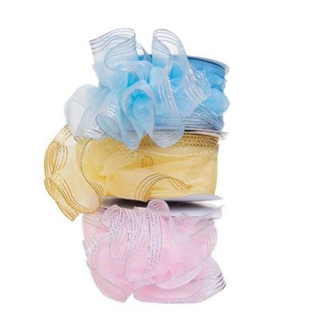 Gold Trim Organza Pull String Bow Ribbon Art Party Wedding Favor - 25 Yards