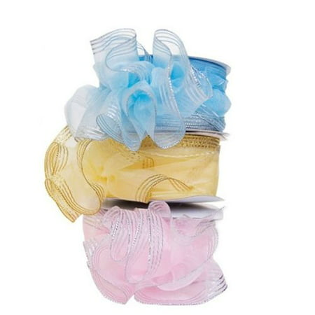 Gold Trim Organza Pull String Bow Ribbon Art Party Wedding Favor - 25 Yards - Pull String Bags