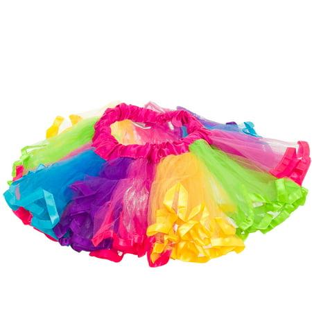 139a66582 Girls Cute 4-Layer Multicolor Rainbow Dance Costume Ballet Tutu Skirt Image  1 of 3