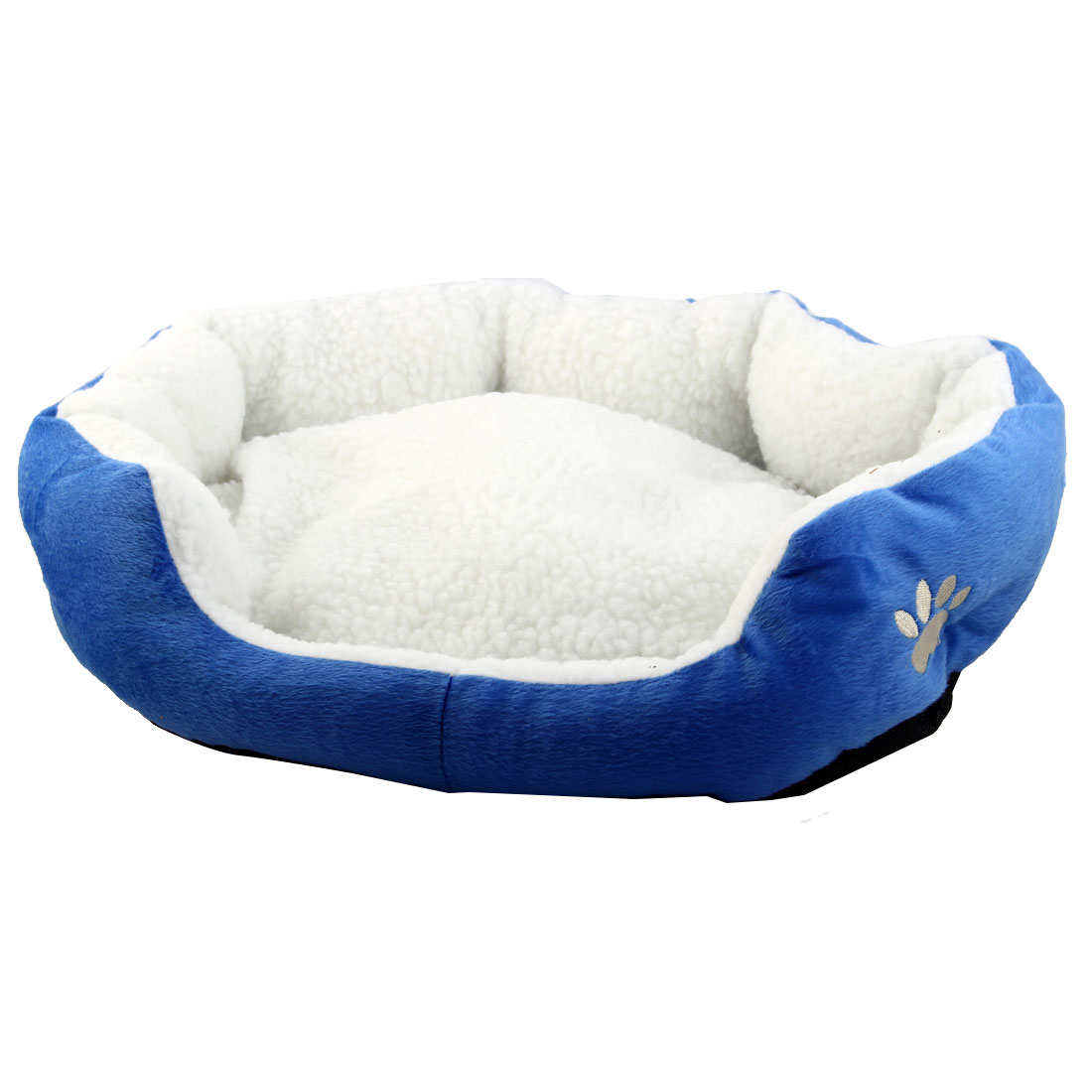Pet Cat Plush Oval Shape Removable Cushion Nesting Dog Bed Cave Blue 50cm x 40cm