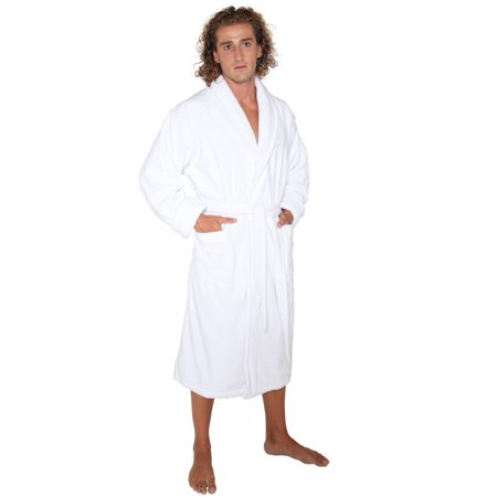 Men's Deluxe Terry Cloth Turkish Cotton Thick Hotel Bathrobe Robe, White, Large for $<!---->