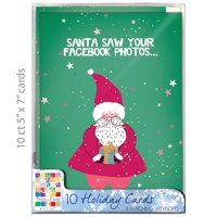 "Tree-Free Greetings Christmas Cards and Envelopes, Set of 10, 5 x 7"", Santa Facebook Holiday Box Set"