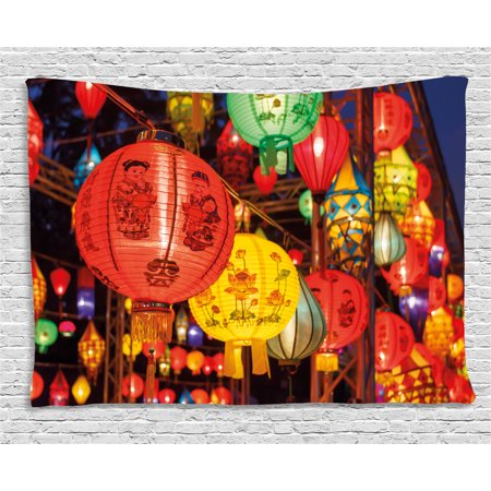 Lantern Tapestry, International Chinese New Year Celebration China Hong Kong Korea Indigenous Culture, Wall Hanging for Bedroom Living Room Dorm Decor, 80W X 60L Inches, Multicolor, by Ambesonne - Chinese New Year Decor Ideas