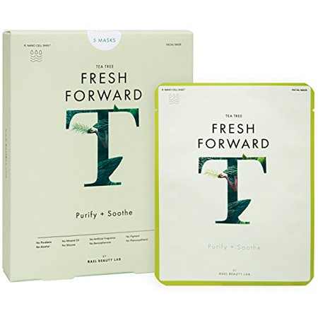 Rael Fresh Forward Face Mask Sheets (Tea Tree) for Acne Prone Skin - 1 Box/ 5 Total