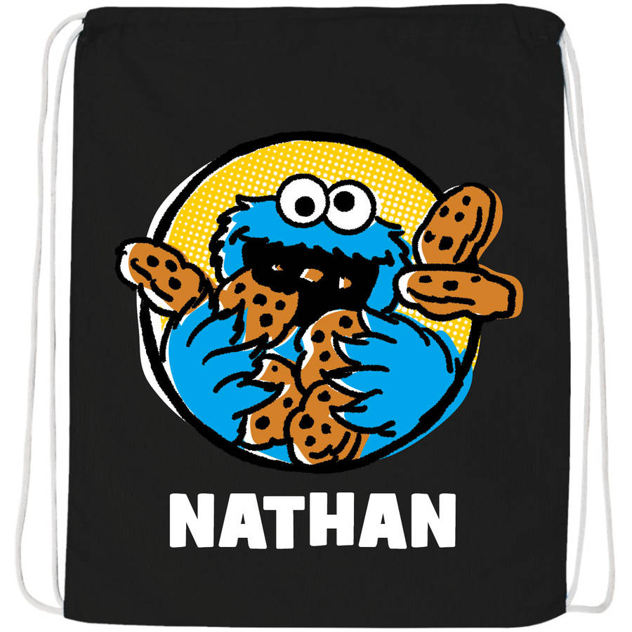 Personalized Sesame Street Cookie Monster Black Drawstring Bag