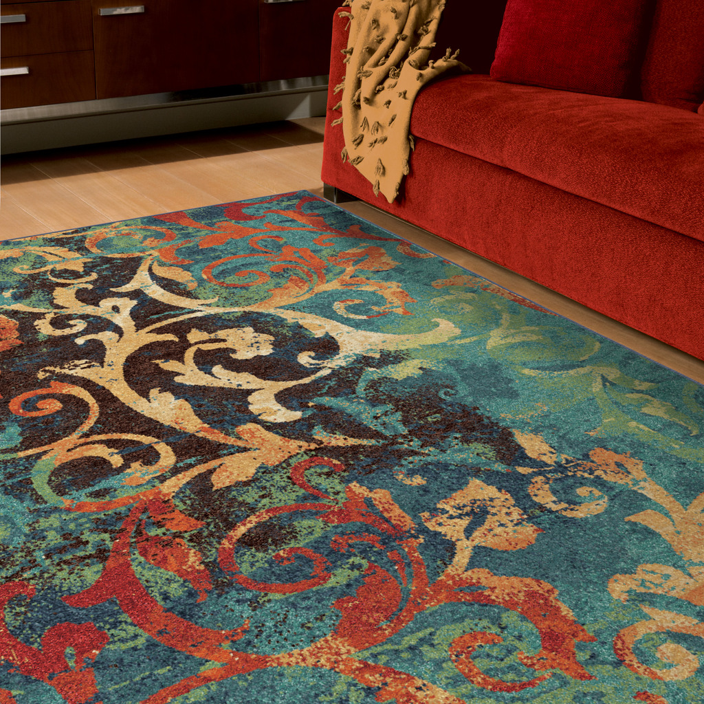 orian rugs watercolor scroll multi-colored area rug or runner