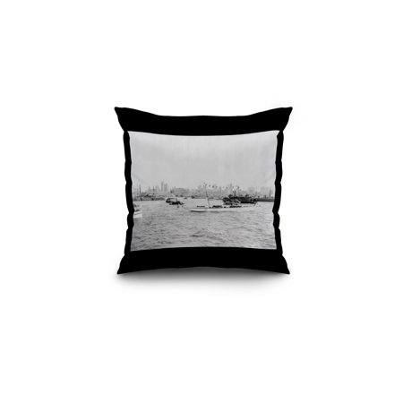 Lower New York and Harbor Filled with Boats NYC Photo (16x16 Spun Polyester Pillow, Black (German U Boat In New York Harbor)