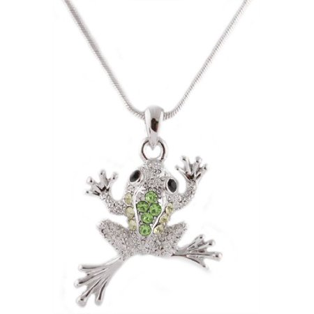 Frog Jewelry (Silvertone with Green Iced Out Frog Pendant with an 18 Inch Snake Franco Chain Necklace )