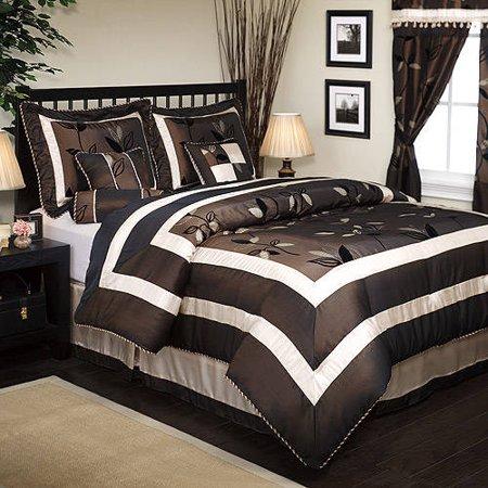 Nanshing Pastora 7-Piece Bedding Comforter Set, Brown, King