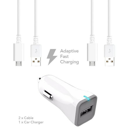 HTC Hero S Charger Fast Micro USB 2.0 Cable Kit by Ixir - {Fast Car Charger + 2 Cable}