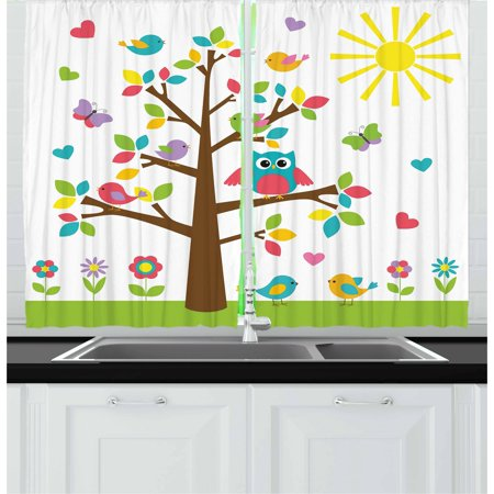 Nursery Curtains 2 Panels Set, Colorful Tree with Cute Owl and Birds Sunny Summer Day in the Park Theme Cartoon, Window Drapes for Living Room Bedroom, 55W X 39L Inches, Multicolor, by Ambesonne - Summer Theme